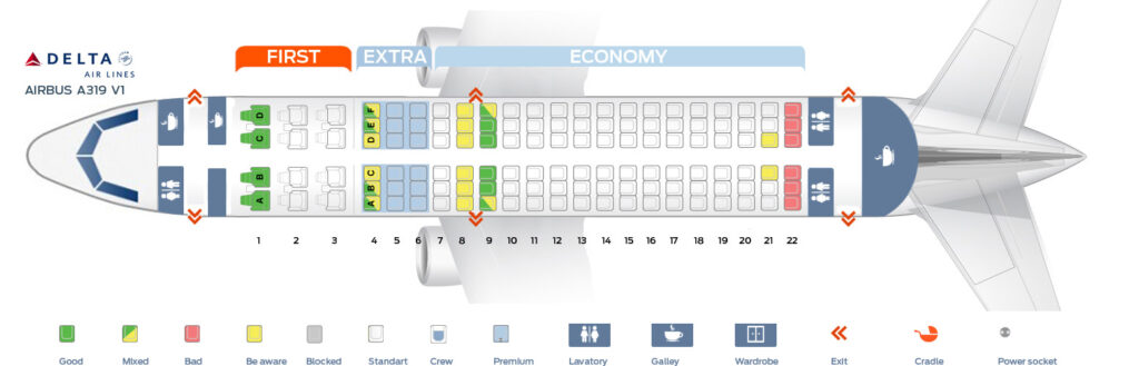 Seat Map and Seating Chart Airbus A319 100 V1 Delta Air Lines