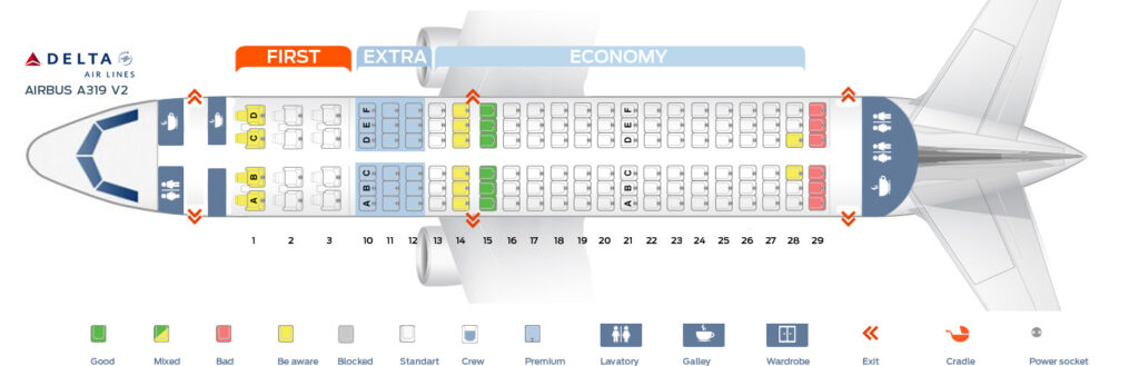 Seat Map and Seating Chart Airbus A319 100 V2 Delta Air Lines