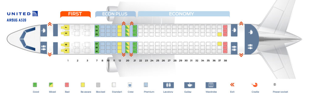 Seat Map and Seating Chart Airbus A320 200 United Airlines