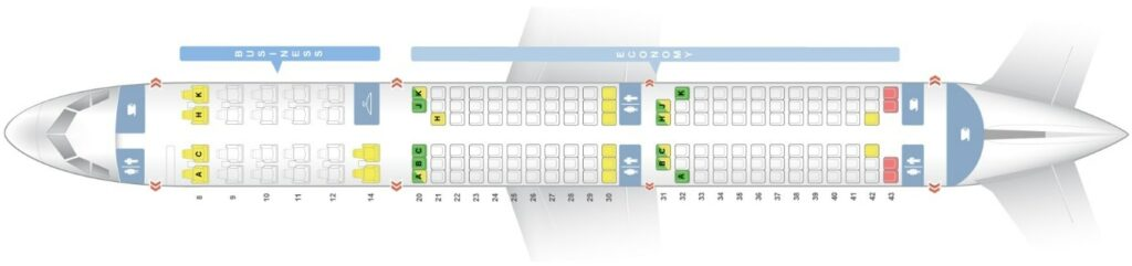 Seat Map and Seating Chart Airbus A321 200 Egyptair