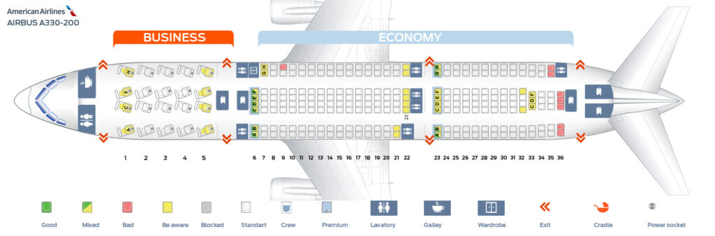 Seat Map and Seating Chart Airbus A330 200 American Airlines
