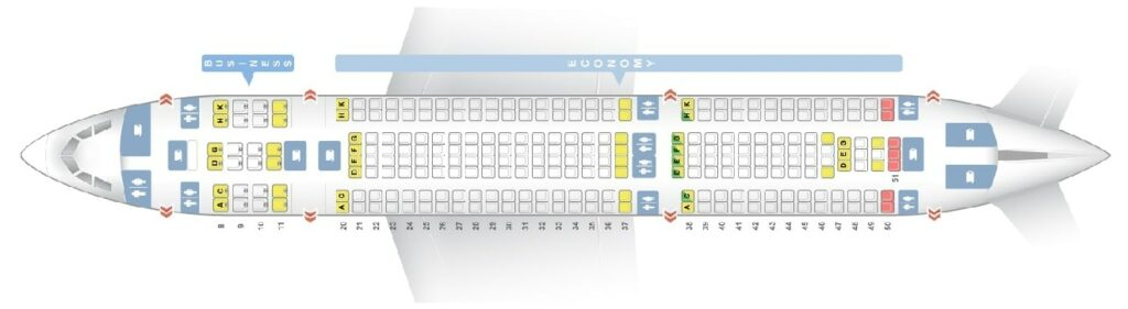 Seat Map and Seating Chart Airbus A330 200 Egyptair
