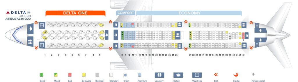 Seat Map and Seating Chart Airbus A330 300 Delta Air Lines
