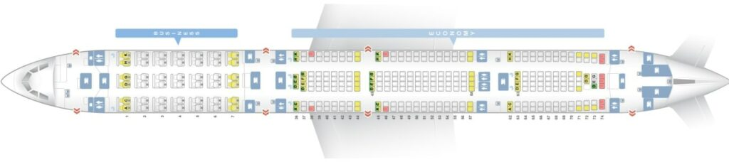 Seat Map and Seating Chart Airbus A340 600 South African Airways SAA