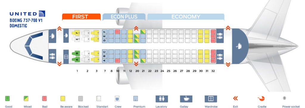 Seat Map and Seating Chart Boeing 737 700 Domestic United Airlines