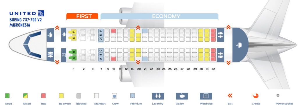 Seat Map and Seating Chart Boeing 737 700 Micronesia United Airlines