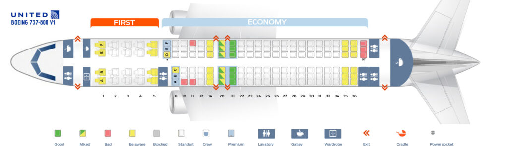 Seat Map and Seating Chart Boeing 737 800 V1 United Airlines