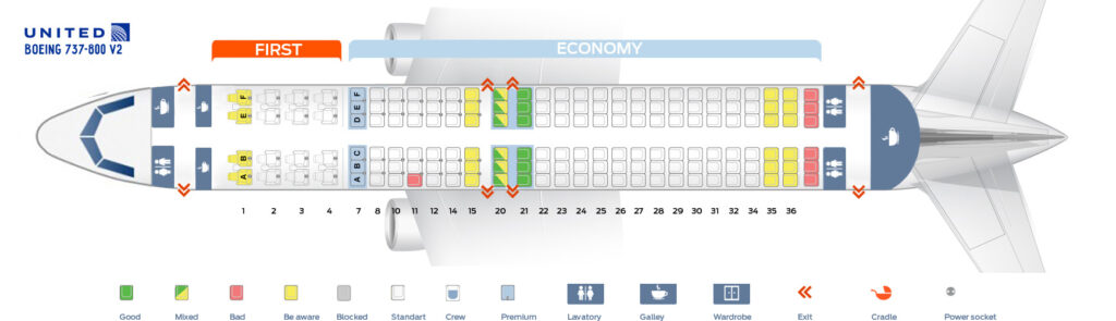 Seat Map and Seating Chart Boeing 737 800 V2 United Airlines