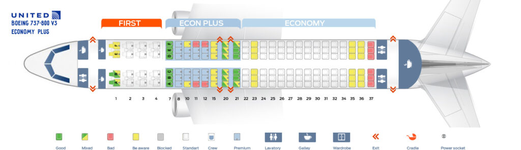 Seat Map and Seating Chart Boeing 737 800 V3 Economy Plus United Airlines
