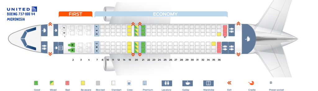 Seat Map and Seating Chart Boeing 737 800 V4 Micronesia United Airlines