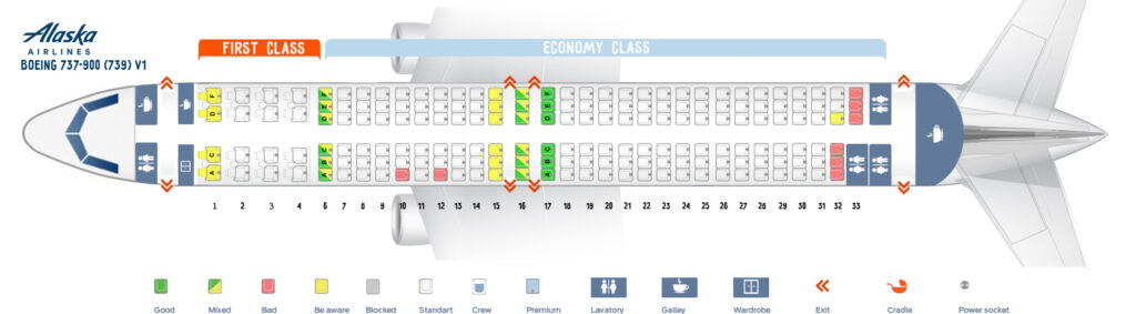 Seat Map and Seating Chart Boeing 737 900ER Alaska Airlines