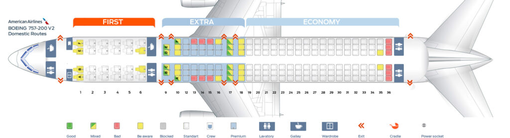 Seat Map and Seating Chart Boeing 757 200 Domestic Routes American Airlines