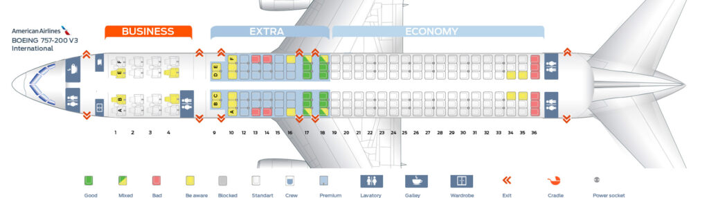 Seat Map and Seating Chart Boeing 757 200 International American Airlines