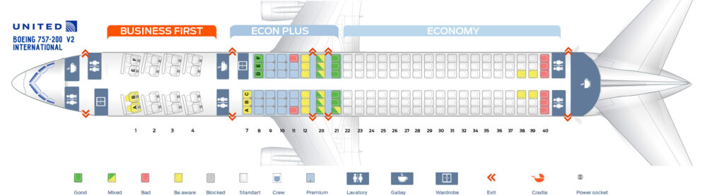 Seat Map and Seating Chart Boeing 757 200 International United Airlines