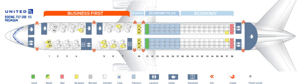 Seat Map and Seating Chart Boeing 757 200 Premium United Airlines