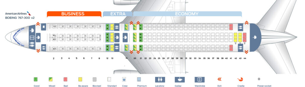 Seat Map and Seating Chart Boeing 767 300 American Airlines