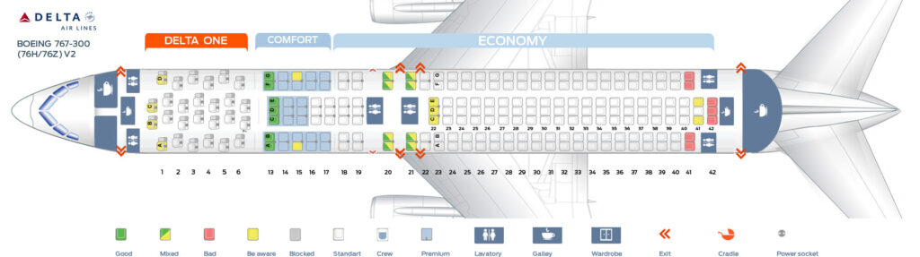 Seat Map and Seating Chart Boeing 767 300ER 76H 76Z Delta Air Lines