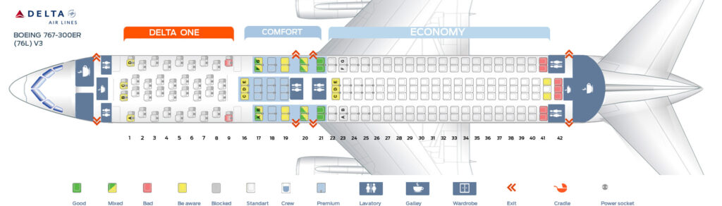 Seat Map and Seating Chart Boeing 767 300ER 76L Delta Air Lines