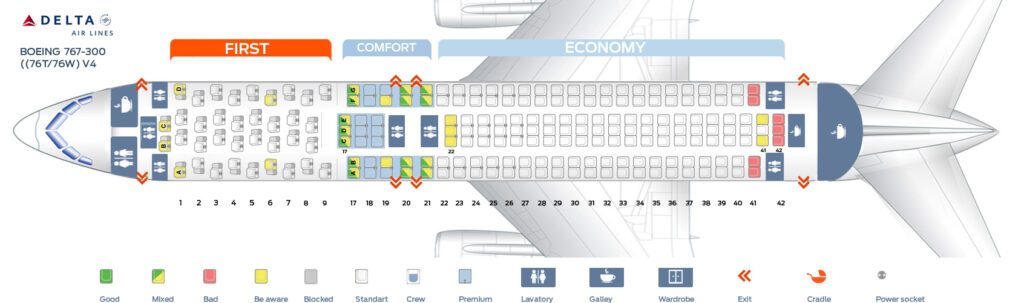 Seat Map and Seating Chart Boeing 767 300ER 76T 76W Delta Air Lines