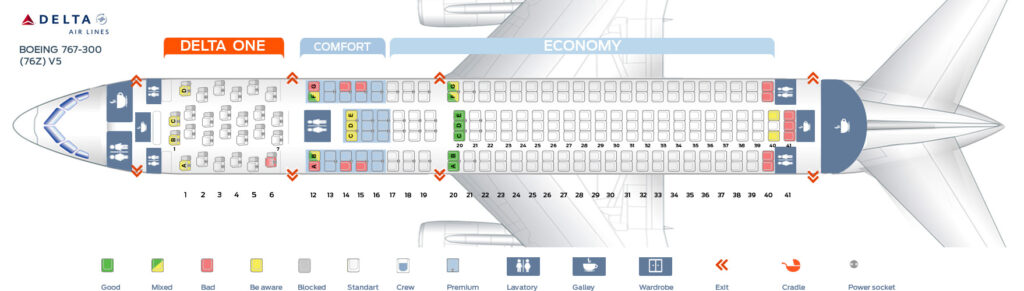 Seat Map and Seating Chart Boeing 767 300ER 76Z Delta Air Lines