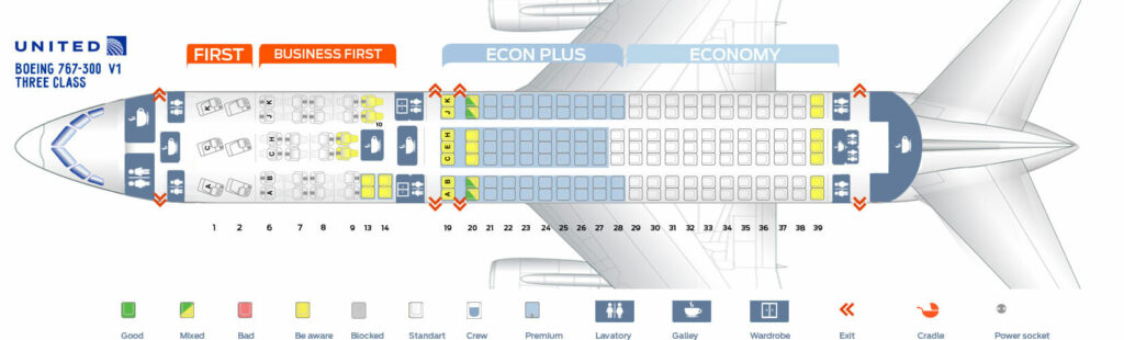 Seat Map and Seating Chart Boeing 767 300ER Three Class United Airlines
