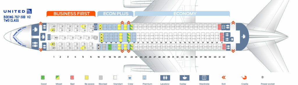 Seat Map and Seating Chart Boeing 767 300ER Two Class United Airlines