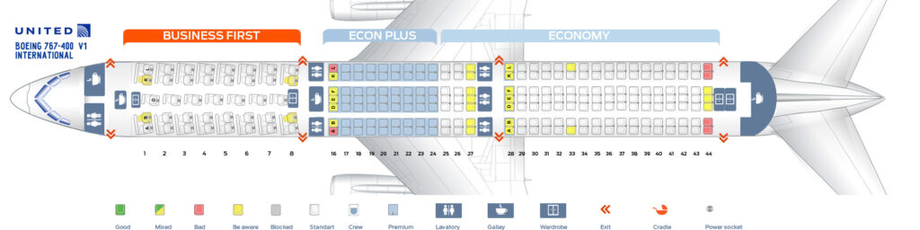 Seat Map and Seating Chart Boeing 767 400ER United Airlines