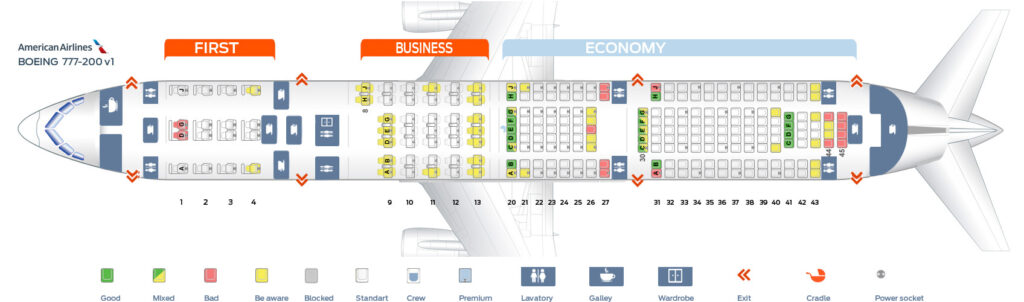 Seat Map and Seating Chart Boeing 777 200ER V1 American Airlines