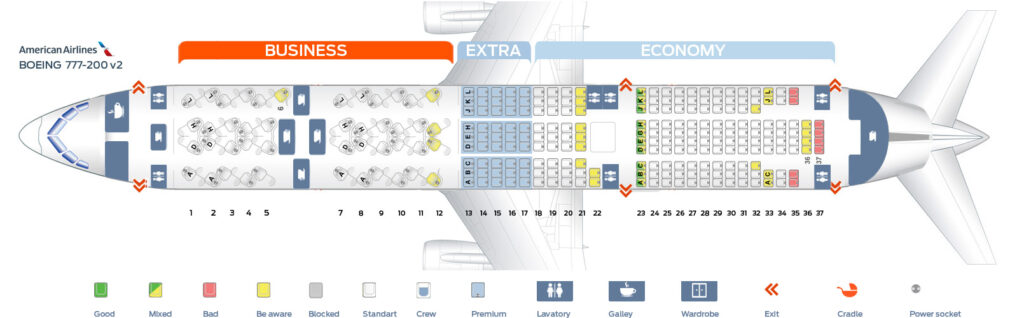 Seat Map and Seating Chart Boeing 777 200ER V2 American Airlines