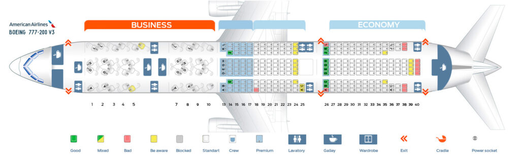 Seat Map and Seating Chart Boeing 777 200ER V3 American Airlines