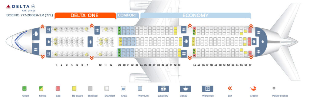 Seat Map and Seating Chart Boeing 777 200LR Delta Air Lines