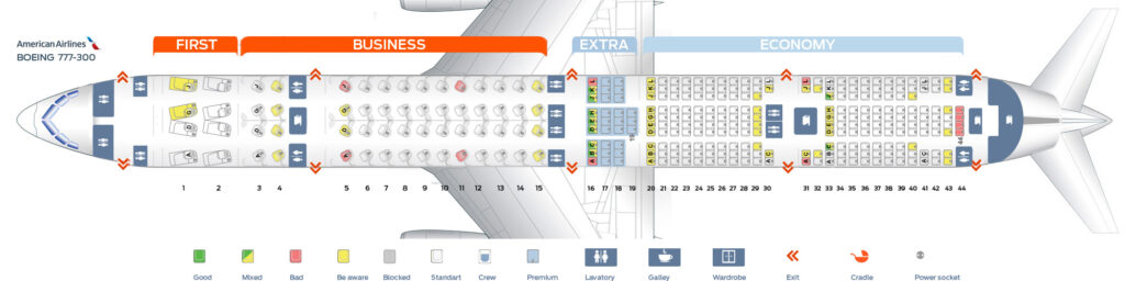 Seat Map and Seating Chart Boeing 777 300ER American Airlines