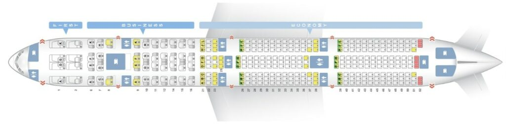 Seat Map and Seating Chart Boeing 777 300ER Three Class Layout Garuda Indonesia