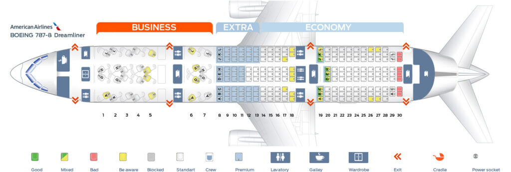 Seat Map and Seating Chart Boeing 787 8 Dreamliner American Airlines