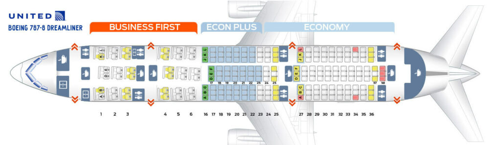 Seat Map and Seating Chart Boeing 787 8 Dreamliner United Airlines
