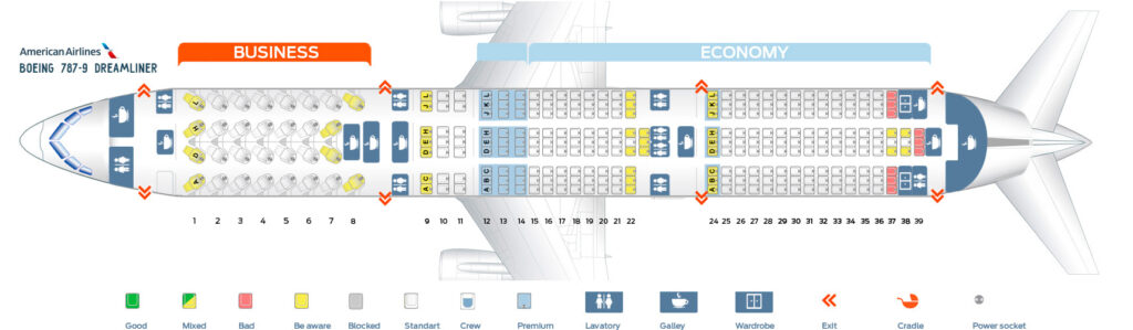 Seat Map and Seating Chart Boeing 787 9 Dreamliner American Airlines