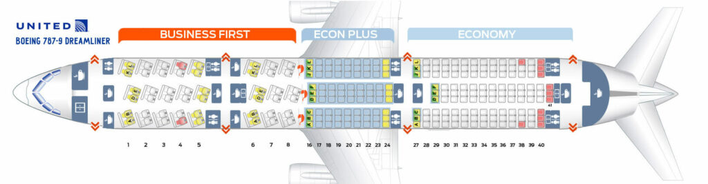 Seat Map and Seating Chart Boeing 787 9 Dreamliner United Airlines