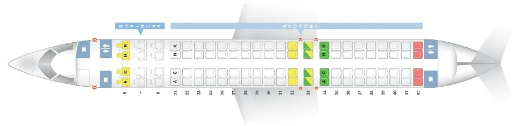 Seat Map and Seating Chart Bombardier CRJ1000 Garuda Indonesia