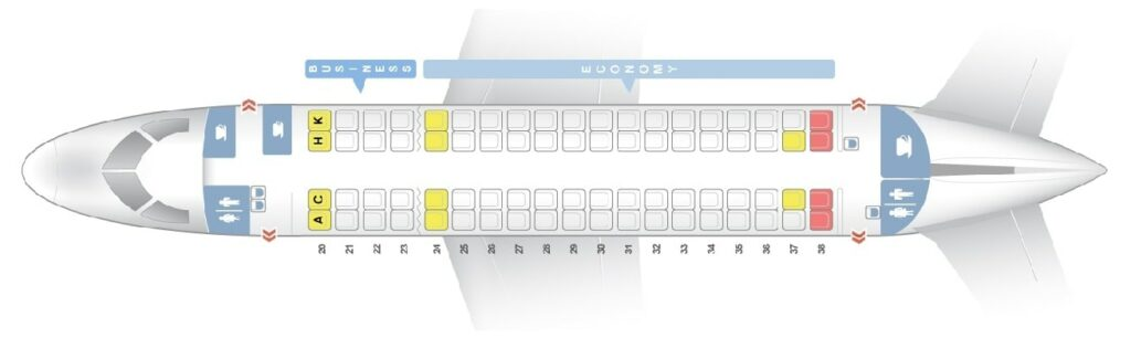 Seat Map and Seating Chart Embraer E170 Egyptair Express
