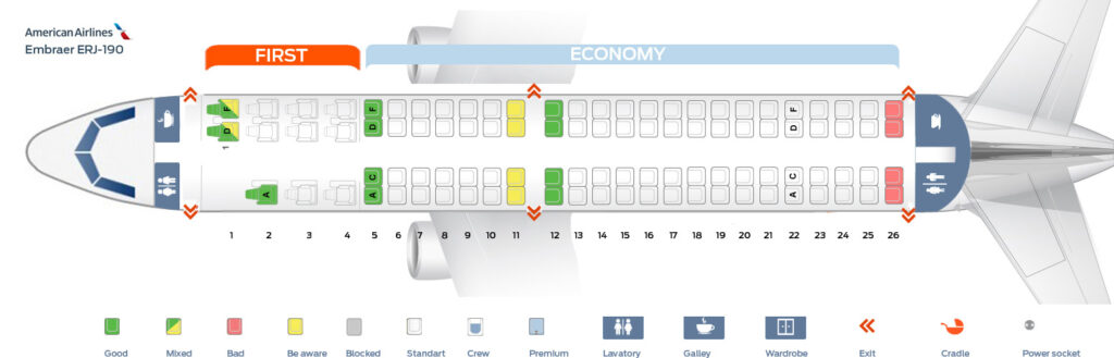 Seat Map and Seating Chart Embraer E190 American Airlines