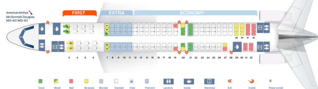 Seat Map and Seating Chart McDonnell Douglas MD 80 MD 82 MD 83 American Airlines