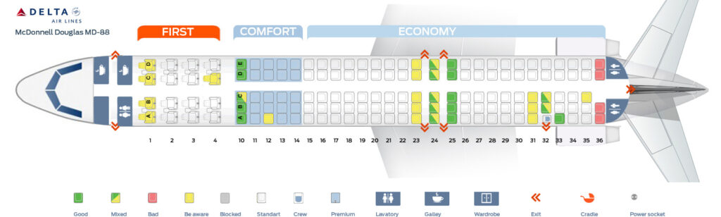 Seat Map and Seating Chart McDonnell Douglas MD 88 Delta Air Lines