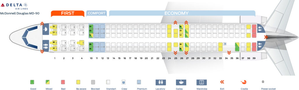 Seat Map and Seating Chart McDonnell Douglas MD 90 Delta Air Lines