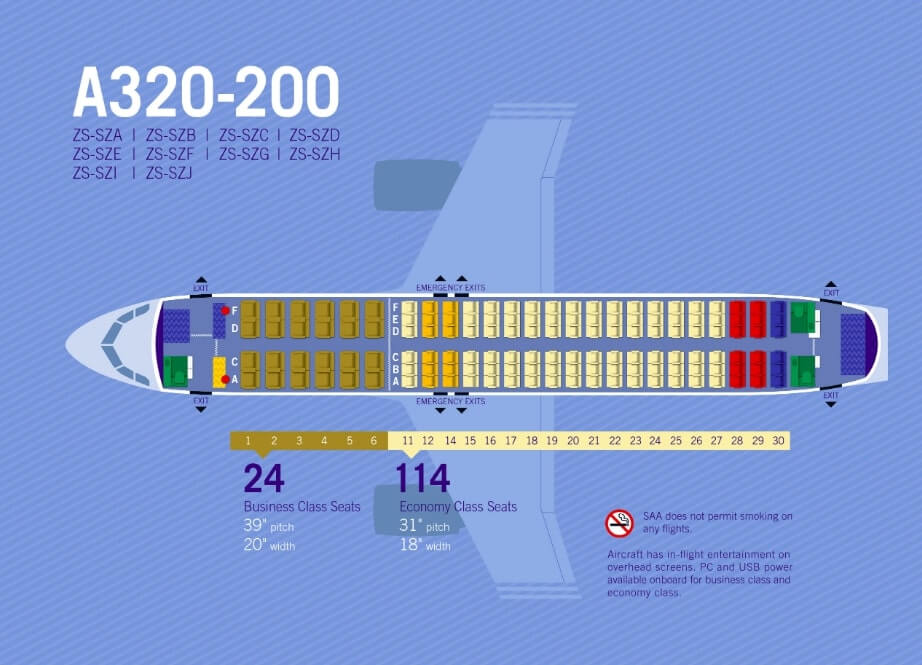 South African Airways Airbus A320 200 Seating Plan