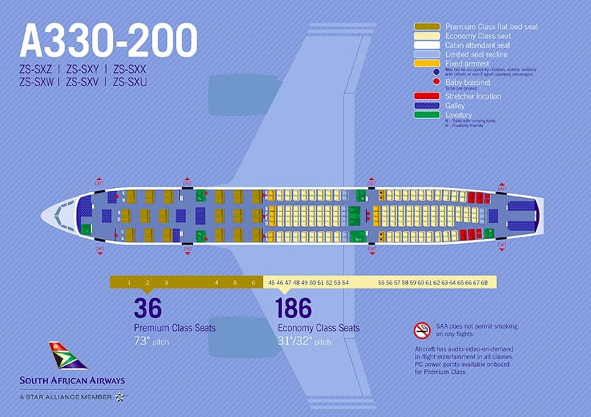 South African Airways SAA Airbus A330 200 Seating Plan