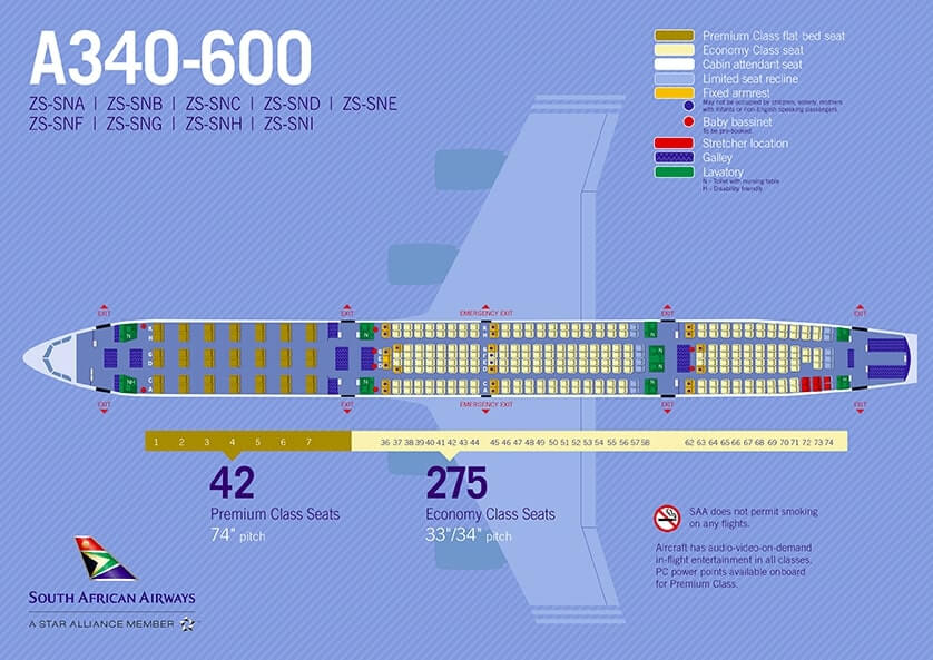 South African Airways SAA Airbus A340 600 Seating Plan