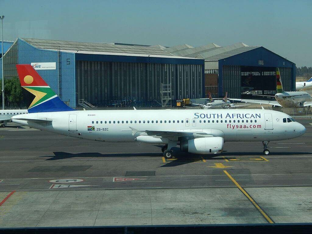 South African Airways ZS SZC Airbus A320 232 at O.R. Tambo International Airport