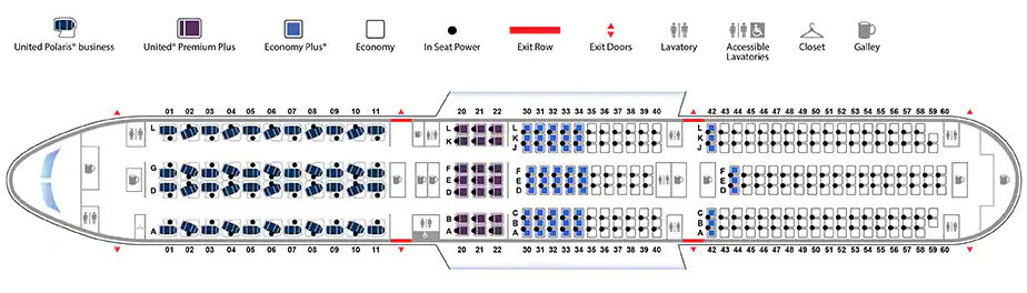 United Airlines Boeing 787 100 Seating Plan