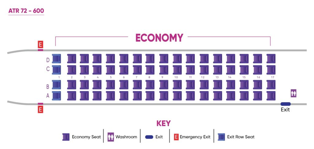 Caribbean Airlines ATR 72 Seating Plan