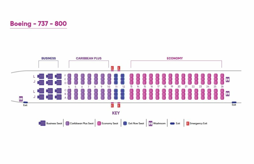 Caribbean Airlines Boeing 737 800 Seating Plan